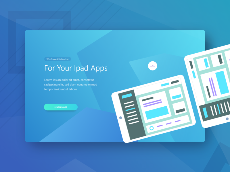 Ui Kit App Landing Page Theplate Mockup   1 For Your Ipad hero landing modern blue freebie mockup tablet gradient kit app website web