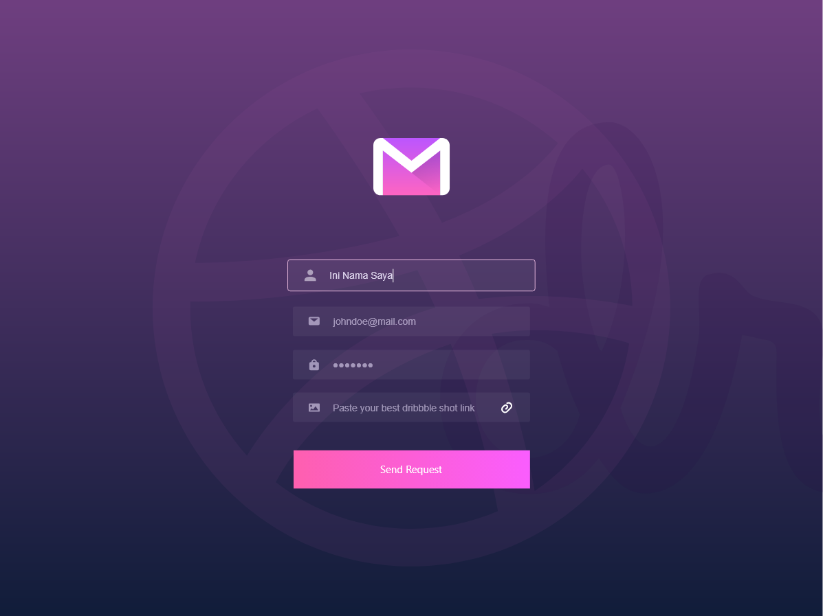 Zalepik | 4 Dribbble Invites Submit Page dark pink page portofolio submit ui mail invites dribbble 4