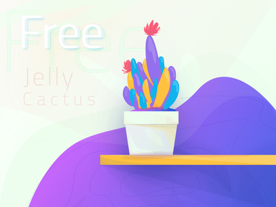 Freebie   Jelly Cactus design inkscape mockup purple colorful jelly cactus download freebie free plant illustration modern gradient zalepik