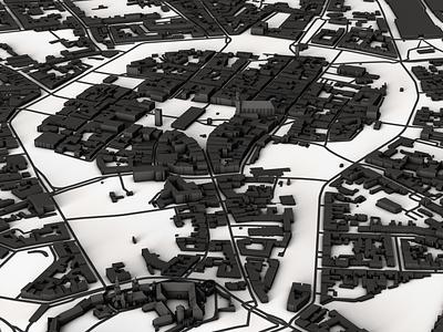 Krakow graphic minimalism greyscale black and white minimal cartography map design illustration maps dem earth design spacelaser 3d 3d design cinema 4d