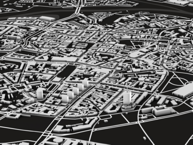Poznan graphic physical render greyscale black and white cartography illustration maps dem earth 3d spacelaser 3d design cinema 4d