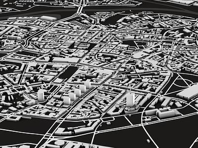 Poznan graphic physical render greyscale black and white cartography illustration maps dem earth 3d spacelaser 3d design cinema 4d