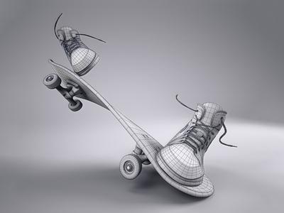 Kickflip / Clay clayrender render clay breakdown graphic design 3dart c4dart skateboard skateboarding cinema4d c4d illustration redshift3d motion graphics design 3d spacelaser 3d design cinema 4d