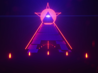 Sinister VJ Loop 03 glow neon pentagram eye all seeing eye all pyramid coronarender corona motion graphics design after effects spacelaser 3d 3d design cinema 4d
