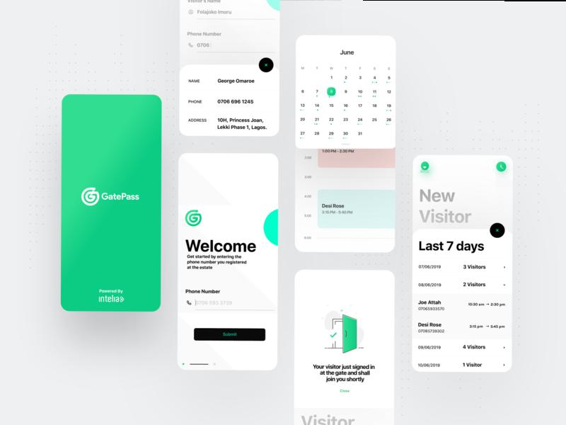 Gatepass modern app ui ux shadows vector greens minimalist free green branding design illustration uiux