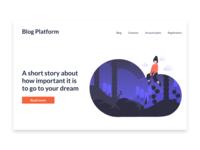 Main page for blog platform