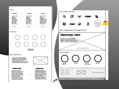 Landing page wireframe design. Industry - Coworking Space.