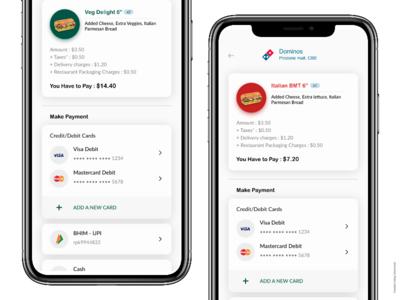Food App - Payment Selection Screen