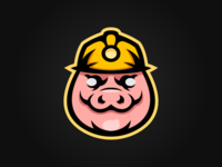 Miner Pig Mascot Logo