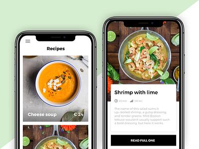 Recipes App shop recipe shrimps soup green design list recipes sketch figma