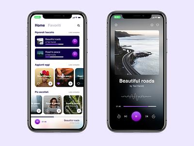Podcast App portrait xr iphone apple ios player photoshop adobexd audio purple sketch design mobile app podcast