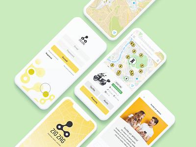 Scooter Sharing App slash login pin location invite map rent scooter sharing bike mobile design app