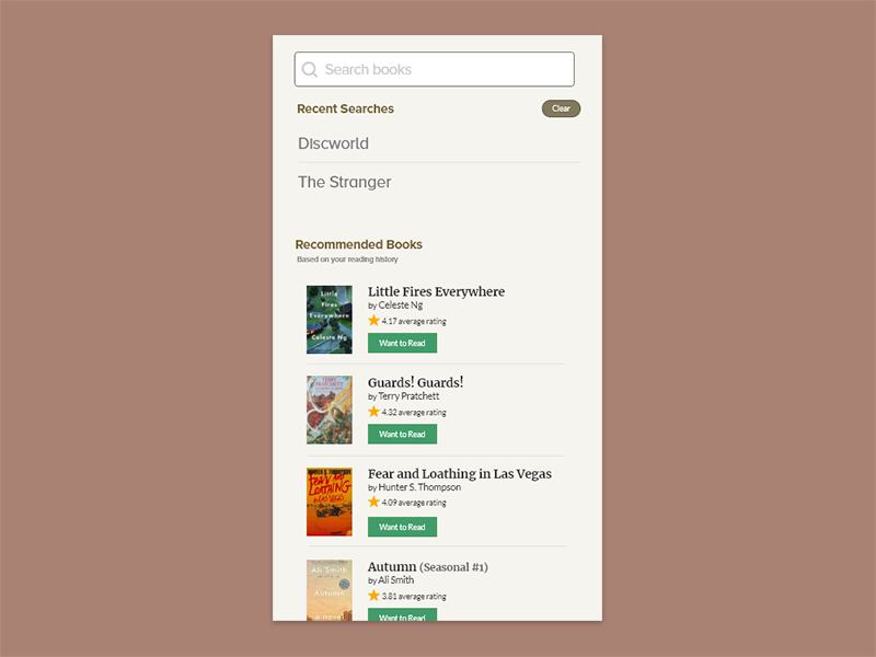 Daily UI #022 - Search redesign goodreads clean visual ux product type ui search flat app dailyui