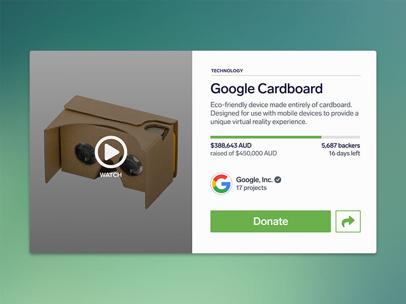 Daily UI #032 - Crowdfunding Campaign crowdfunding branding vr visual type ux ui product dailyui flat clean 032