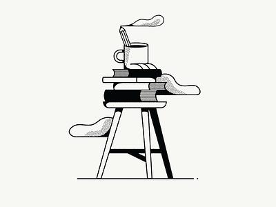 Research process books coffee fun researcher research art typography graphic design artist illustrator design illustration