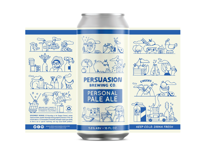 Persuasion Brewing type identity art logo branding beer art beer label beer can drawing graphic design illustrator illustration
