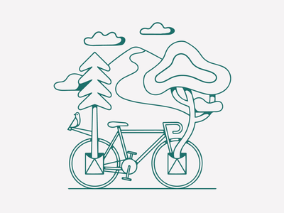 PANOWOW simple illustration outdoor illustration gravel bikes outdoorillustration beerlabel treedrawing bikedrawing drawing artist graphic design illustrator design illustration