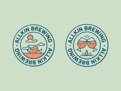 ALLKIN Brewing Co beer logo logo beer beer brand craft beer branding logo typography drawing artist graphic design illustrator design illustration