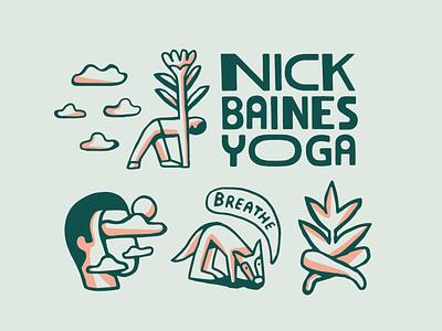 Nick Baines Yoga fun yoga branding logo typography drawing artist graphic design illustrator design illustration