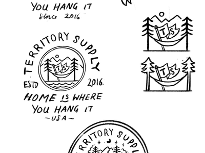 Badge for Territory Supply rough concept sketch adventure badge clothing brand outdoor badge design outdoor badge vector artist drawing illustrator graphic design illustration