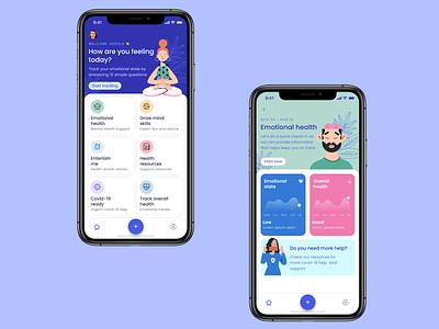 Covid-19 frontliners app figma medical activity tracker health ios prototype illustration app design ux ui product design