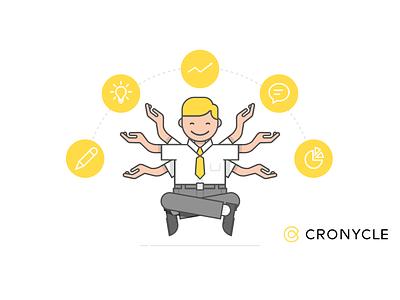 Cronycle banner flat icon animation minimal product design branding design logo vector illustration