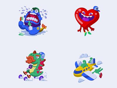 Chat stickers animation app vector illustration web design design flat product design
