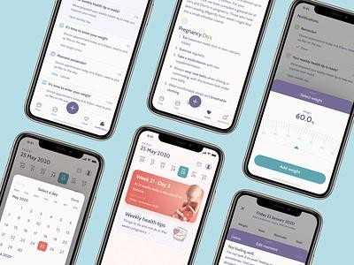 Pregnancy tracking app tracker pregnancy ui ux app design product design