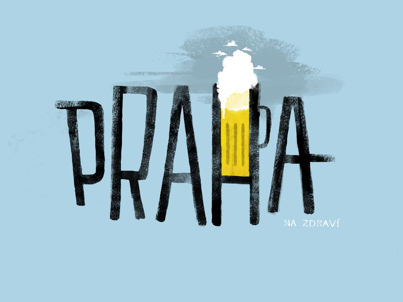 Praha lettering na zdravi illustration art illustration beer