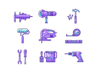 Constructions icons vector hammer screwdriver drill tools construction icons set icons
