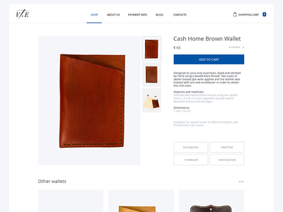 V&E Leather Goods product page