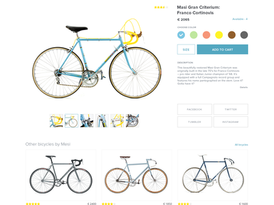 Bicycle product page page product simple site web ecommerce clean bicycle