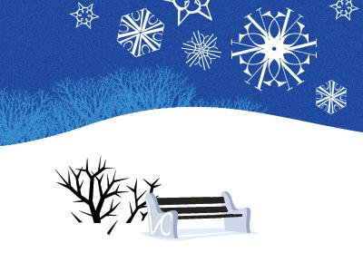 Vassar bench blue white winter vassar snowflakes snow