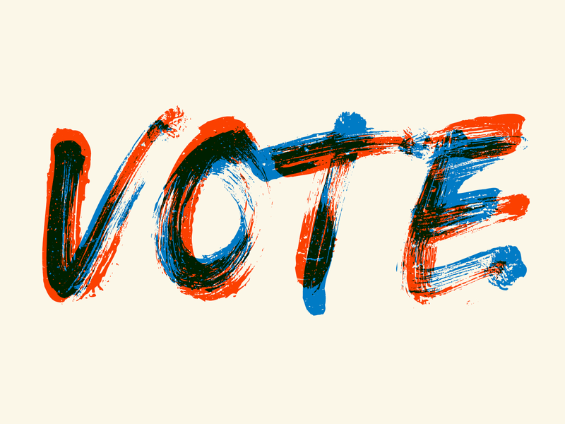 Vote vote red blue brush font typography