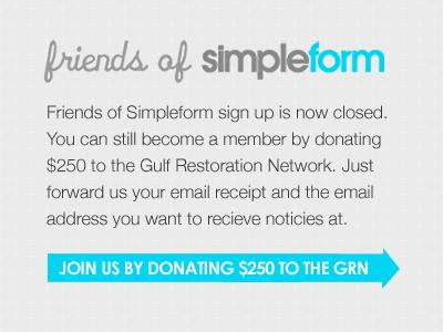 Friends of Simpleform closing simpleform