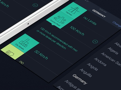 Speedlimit Interface ios speed limit app clear simple flat 7 list