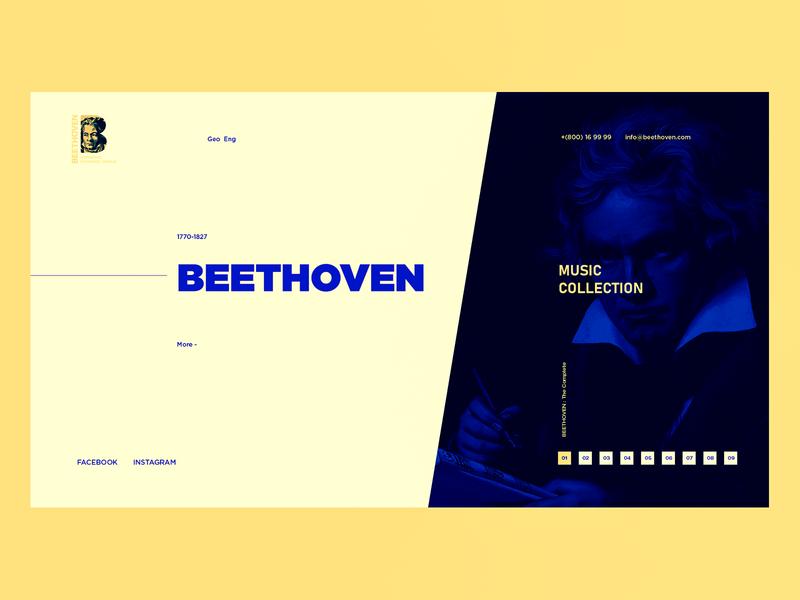 Beethoven. ux ui web branding design mark logo branding blue classic music beethoven website webdesign