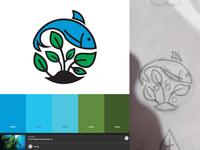 Hydroponics Logo Concept hydroponics palette drawing leaf plant fish green blue icon vector illustration design branding logo