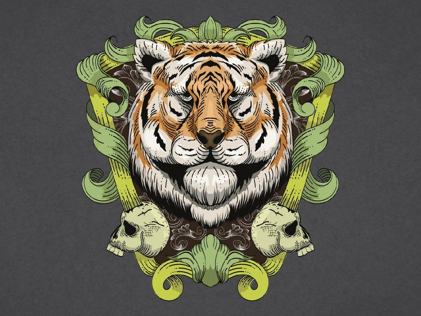 Tiger head logo skull art bones vintagelogo vintage badge frame floral art tiger vector art illustrattion art branding animal