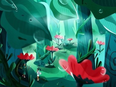 Spring-Dream friend boy girl safflower tree leaf vine grass sunlight water drops illustration