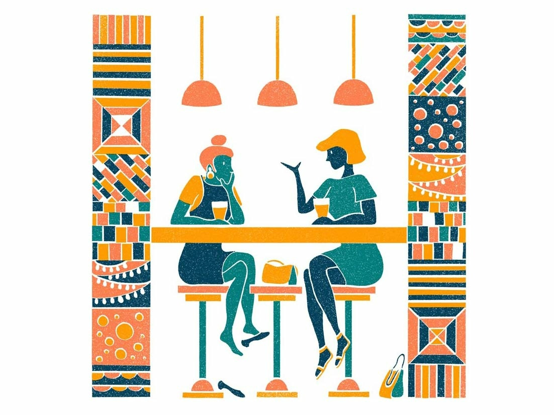Summer Pints personal work chatting scene cafe drawing figures tiles texture retro pattern illustration design