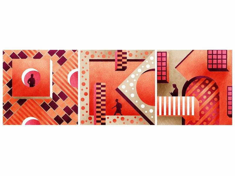 Citay design figure drawing illustration brutalism environment people pink retro orange red silhouettes figures pattern gemetric shapes bauhaus city