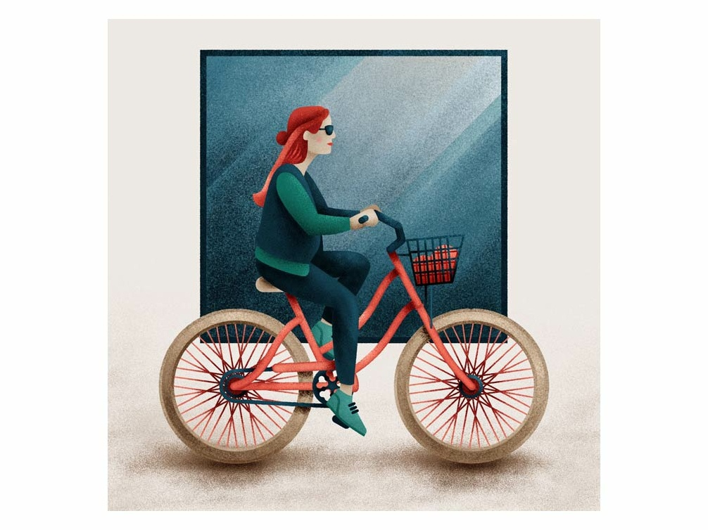 Cyclist graphic design design digital  illustration illustration cycle bike kit blue geometric square sunglasses redhead colour color texture drawing bicycle