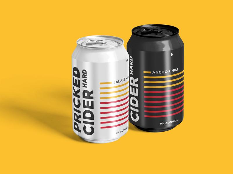 Pricked Hard Cider logo design can packaging beer hard cider vector branding design logo typography graphic design