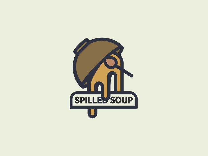 Spilled Soup Lockup sketch dish sans serif simple logotype simple logo symbol food bowl soup icons branding typography logo design icon logo design vector illustration graphic design