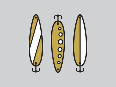 Lures art direction designs graphicdesign graphic think lines grey orange icon hook badge design salmon lures fish fishing icons design vector illustration graphic design
