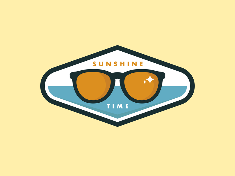 Sunshine Time logo design time sun sunglasses badge design badge design vector illustration graphic design