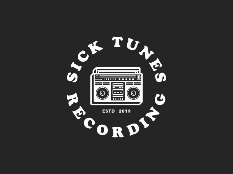 Sick Tunes Recording - Circular badge design icons typography logo design icon design logo vector illustration graphic design