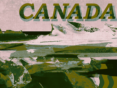 Hello Dribbble! o canada first shot texture vintage retro country mountain nation design collage canada debut