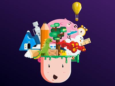 Designer's Mind tree snowman pig pencil mind illustration food dinosaur design brain wix playoff